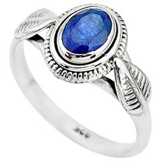 1.53cts natural blue sapphire 925 sterling silver solitaire ring size 8 t5504