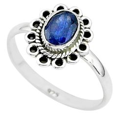 1.45cts natural blue sapphire 925 sterling silver solitaire ring size 8 t5507