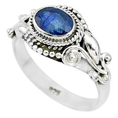 1.53cts natural blue sapphire 925 sterling silver solitaire ring size 8 t5511