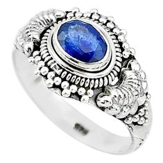 1.39cts natural blue sapphire 925 sterling silver solitaire ring size 8 t5513