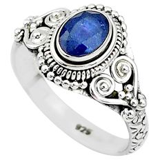 1.48cts natural blue sapphire 925 sterling silver solitaire ring size 8 t5516