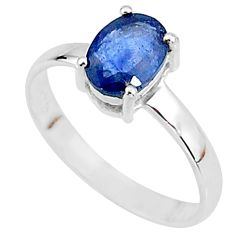 2.22cts natural blue sapphire 925 sterling silver solitaire ring size 8 t7285