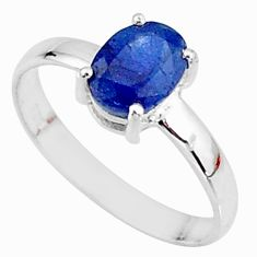 2.27cts natural blue sapphire 925 sterling silver solitaire ring size 8 t7290