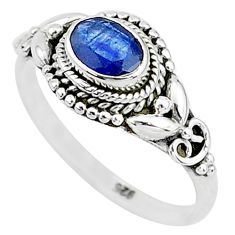 1.57cts natural blue sapphire 925 sterling silver solitaire ring size 9 t5515