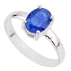 2.31cts natural blue sapphire 925 sterling silver solitaire ring size 7.5 t7289