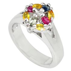 Natural blue sapphire citrine ruby 925 sterling silver ring size 6.5 c19317