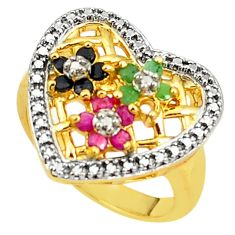 Natural blue sapphire emerald diamond 925 silver 14k gold ring size 8 c19319