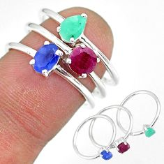 3.22cts natural blue sapphire emerald ruby 925 silver 3 rings size 6.5 r92369