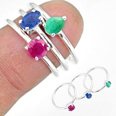 2.72cts natural blue sapphire emerald ruby 925 silver 3 rings size 6 t17608