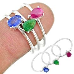 2.81cts natural blue sapphire emerald ruby 925 silver 3 rings size 7 t17574