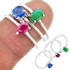 3.42cts natural blue sapphire emerald ruby 925 silver 3 rings size 7 t17590