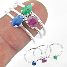 3.13cts natural blue sapphire emerald ruby 925 silver 3 rings size 6.5 t50943
