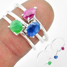 3.13cts natural blue sapphire emerald ruby 925 silver 3 rings size 6.5 t50945