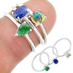 2.81cts natural blue sapphire ethiopian opal 925 silver 3 rings size 6 t17595