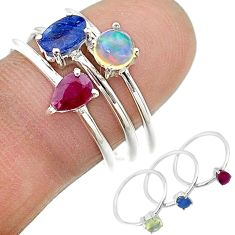 2.98cts natural blue sapphire ethiopian opal 925 silver 3 rings size 7 t17562