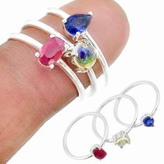 2.98cts natural blue sapphire ethiopian opal 925 silver 3 rings size 7 t17581