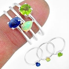 3.13cts natural blue sapphire ethiopian opal 925 silver 3 rings size 8 r92434