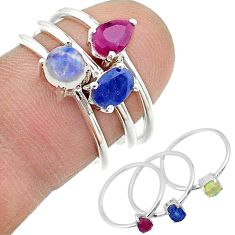 2.98cts natural blue sapphire ethiopian opal 925 silver 3 rings size 8 t17561