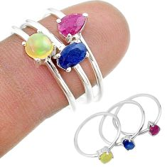 2.81cts natural blue sapphire ethiopian opal 925 silver 3 rings size 8 t17572