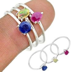 2.97cts natural blue sapphire ethiopian opal 925 silver 3 rings size 8 t17578
