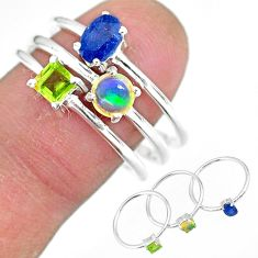 3.02cts natural blue sapphire ethiopian opal 925 silver 3 rings size 9 r92416