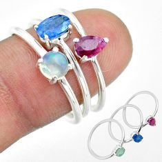 2.82cts natural blue sapphire ethiopian opal ruby silver 3 rings size 7 t50940
