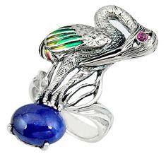 Natural blue sapphire garnet enamel 925 silver swan charm ring size 5.5 c20738