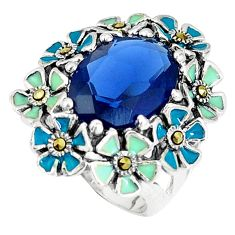 Natural blue sapphire marcasite enamel 925 silver ring size 6 c16026