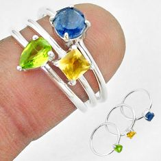 2.98cts natural blue sapphire peridot citrine 925 silver 3 rings size 6 t50911