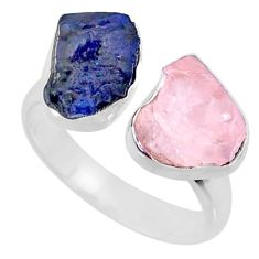 12.06cts natural blue sapphire raw 925 silver adjustable ring size 8 r73848