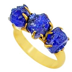 9.87cts natural blue sapphire raw 14k gold handmade ring size 7 t34970