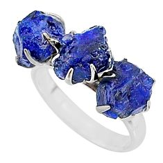10.32cts natural blue sapphire raw 925 silver 3 stone ring size 7 t7081