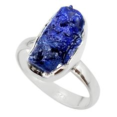 6.57cts natural blue sapphire rough 925 silver solitaire ring size 7.5 r48961