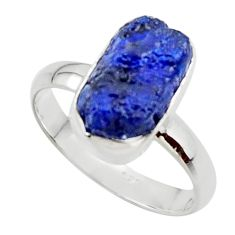 6.05cts natural blue sapphire rough 925 silver solitaire ring size 8.5 r48967