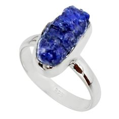 5.64cts natural blue sapphire rough 925 silver solitaire ring size 7 r48969