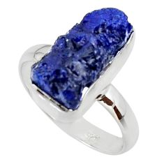 7.36cts natural blue sapphire rough 925 silver solitaire ring size 8 r48963