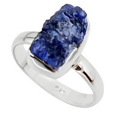 5.53cts natural blue sapphire rough 925 silver solitaire ring size 8 r48972