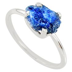 3.65cts natural blue sapphire raw 925 silver solitaire ring size 8 r70581