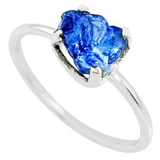 3.65cts natural blue sapphire raw 925 silver solitaire ring size 8 r70582