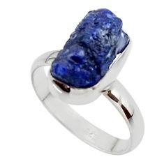 6.84cts natural blue sapphire rough 925 silver solitaire ring size 9 r48965