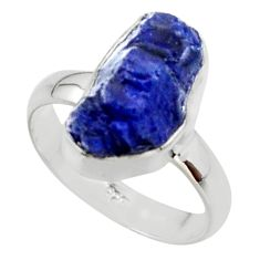 6.26cts natural blue sapphire rough fancy silver solitaire ring size 6 r48970
