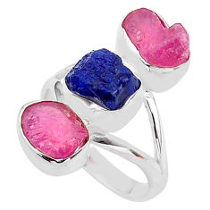 14.90cts natural blue sapphire raw ruby rough 925 silver ring size 8 t37705