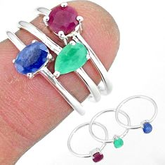 3.10cts natural blue sapphire ruby 925 sterling silver 3 rings size 6 r92382