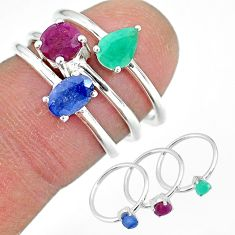 3.14cts natural blue sapphire ruby 925 sterling silver 3 rings size 6 r92396