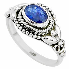 1.53cts natural blue sapphire sterling silver solitaire ring size 10*20 t5520
