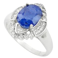 5.51cts natural blue sapphire topaz 925 sterling silver ring size 8.5 c17904