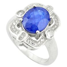 5.09cts natural blue sapphire topaz 925 sterling silver ring size 5.5 c17908