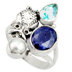 6.89cts natural blue sapphire topaz 925 sterling silver owl ring size 8 r22649