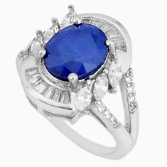 Natural blue sapphire topaz 925 sterling silver ring size 6.5 c17901
