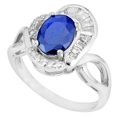 Natural blue sapphire topaz 925 sterling silver ring jewelry size 9 c17907